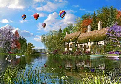 Swans.. Digital Art - Old River Cottage by Dominic Davison