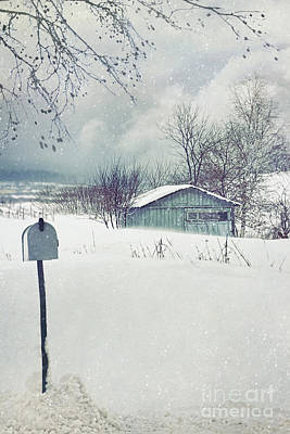 Photograph - Old Shed In Winter Snow Storm by Sandra Cunningham