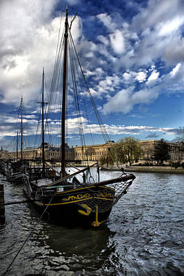 Photograph - old ship in seine river Paris. by Radoslav Nedelchev