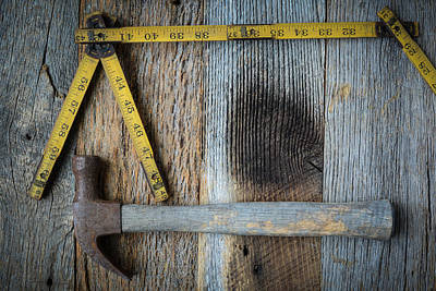 Old Tape Measure And Hammer For Construction On Rustic Wood Back Art Print
