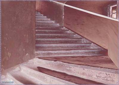 Mixed Media - Old Vintage Building Wide Staircases Digitally Painted For Decoration Art by Navin Joshi