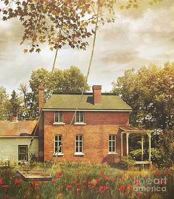 Photograph - Old Vintage Farmhouse With Swing  by Sandra Cunningham