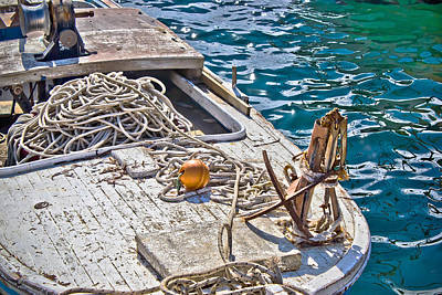 Photograph - Old Wooden Fishing Boat Detail by Brch Photography