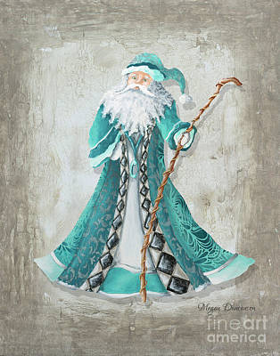 Old World Style Turquoise Aqua Teal Santa Claus Christmas Art By Megan Duncanson Art Print