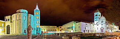 Photograph - Old Zadar Square Panoramic Night View by Brch Photography