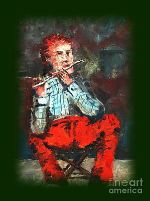 Tin Whistle Painting - Ole Red Pants by Val Byrne