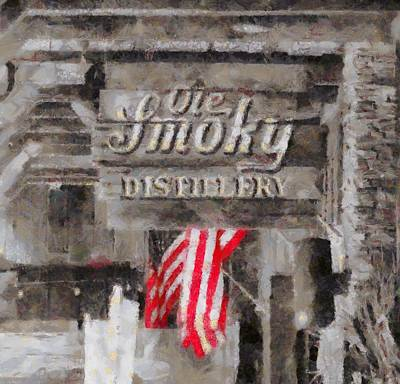 American Flag Mixed Media - Ole Smoky Distillery by Dan Sproul