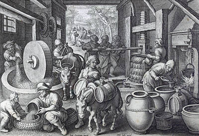 Oil Drawing - Oleum Olivarum, The Invention Of The Olive Oil Press by Italian School