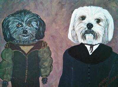 Shih-poo Painting - Olive And Buddy Bff by Nancy VanSchaack