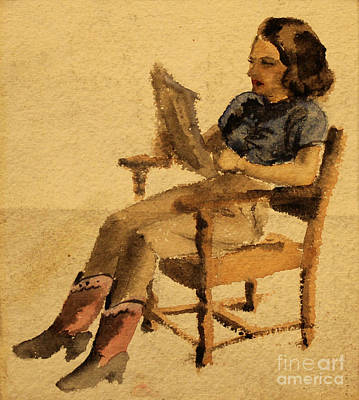 Painting - Olive Reading  1939 by Art By Tolpo Collection