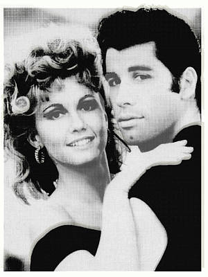 Painting - Olivia Newton John And John Travolta In Grease Collage by Tony Rubino