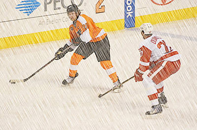 1 On 1 Hockey Art Print by David Ziegler