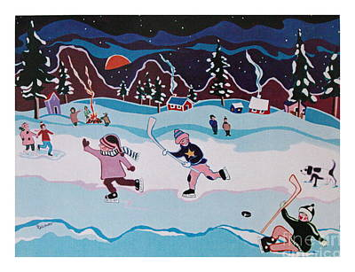 Art Print featuring the painting On Frozen Pond by Joyce Gebauer