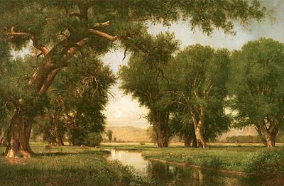 Worthington Photograph - On The Cache La Poudre River Colorado by Thomas Worthington Whittredge