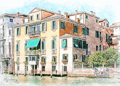 Digital Art - On The Canal Grande by Mariarosa Rockefeller