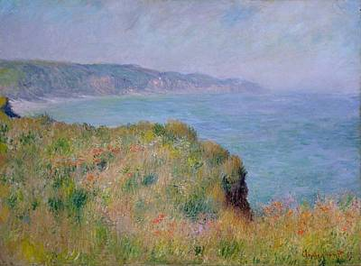 On The Cliff At Pourville Art Print by Claude Monet