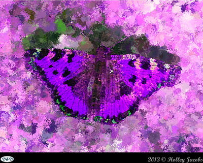 Digital Art - On The Rocks Purple by Holley Jacobs