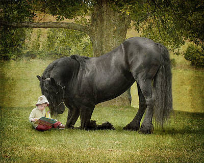 Black Friesian Photograph - Once Upon A Time by Fran J Scott