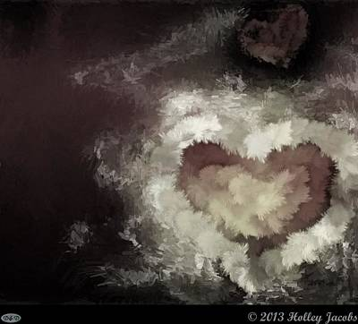 Digital Art - One Heart Black And White by Holley Jacobs