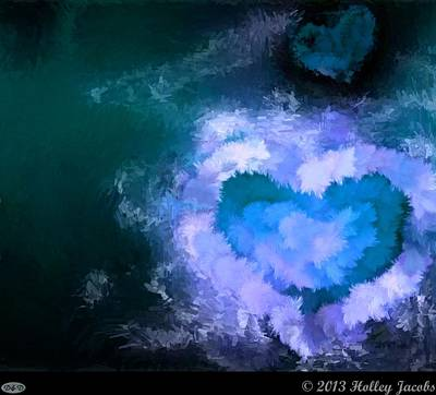 Digital Art - One Heart Blue by Holley Jacobs