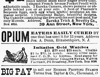 Opium Habit Cure, 1876 Art Print
