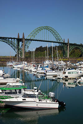 Yaquina Bay Bridge Photograph - Or, Newport, Marina With Pleasure Boats by Jamie and Judy Wild