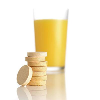 Healthcare And Medicine Photograph - Orange Juice And Vitamin C Tablets by Science Photo Library