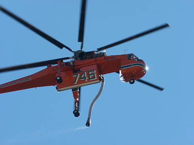 Photograph - Orange Skycrane Firefighting Helicopter by Jeff Lowe