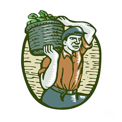 Organic Farmer Harvest Basket Woodcut Linocut Art Print by Aloysius Patrimonio