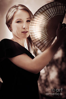 Contemplating Photograph - Oriental Fan Woman by Jorgo Photography - Wall Art Gallery