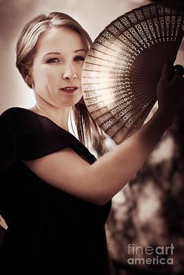 Contemplate Photograph - Oriental Fan Woman by Jorgo Photography - Wall Art Gallery