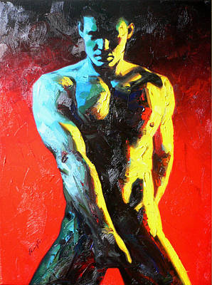 Oil Drawing - Original Abstract Oil Painting Art-male Nude By Kinfe by Hongtao     Huang