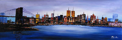 Original Modern Canvas Painting New York City Skyline Original by Enxu Zhou