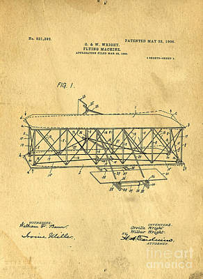 Original Patent For Wright Flying Machine 1906 Art Print by Edward Fielding