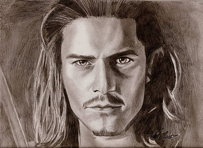 Drawing - Orlando Bloom by Michael Mestas