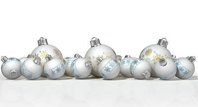 Ornate Matte White Christmas Baubles Art Print