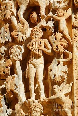 Ornately Sculpted Pillar At Leptis Magna In Libya Art Print