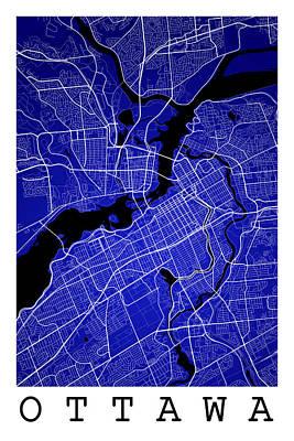 Lucille Ball - Ottawa Street Map - Ottawa Canada Road Map Art on Colored Backgr by Jurq Studio
