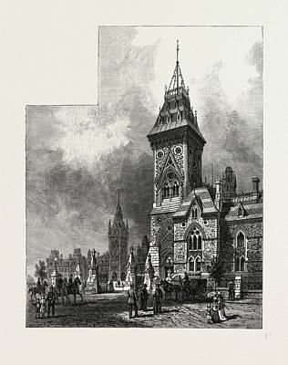 Building Blocks Drawing - Ottawa, Tower Of Eastern Block, Departmental Buildings by Canadian School