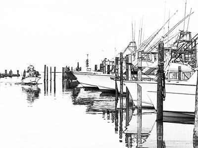 Oregon Inlet Photograph - Outer Banks Fishing Boats Sketch #2 by Dan Carmichael