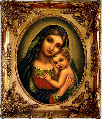 Orthodox Icon Mixed Media - Oval Madonna  by Ananda Vdovic