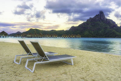 Moorea Photograph - Overwater Bungalows On A White Sandy Beach by Mel Ashar