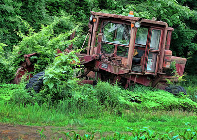 Photograph - Overgrown Abandoned Tractor by Ron Grafe