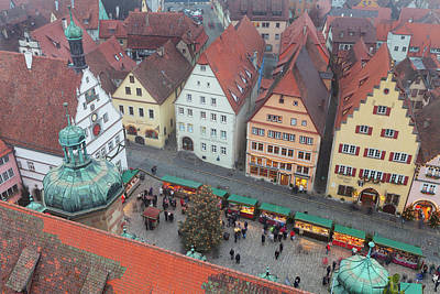 Christmas Market Photograph - Overhead View Of The Christmas Market by Panoramic Images