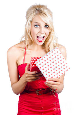 Amazement Photograph - Overjoyed Woman With Valentine Gift Box by Jorgo Photography - Wall Art Gallery