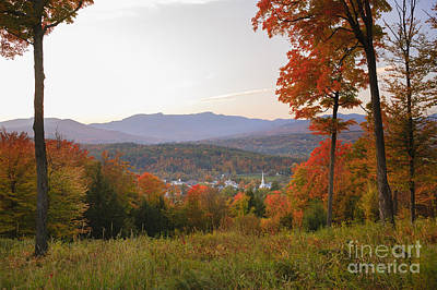 Anchor Down - Overlooking Stowe Community Church in the autumn. by Don Landwehrle