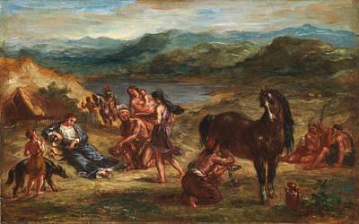 Ovid Among The Scythians Print by Eugene Delacroix