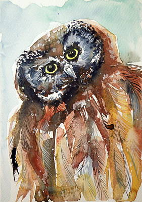 Wild Animals Painting - Owl by Kovacs Anna Brigitta