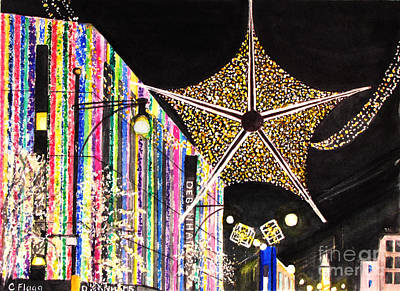 Art Print featuring the painting Oxford Street London 2011 by Carol Flagg