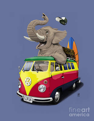 Drawing - Pack The Trunk Colour by Rob Snow